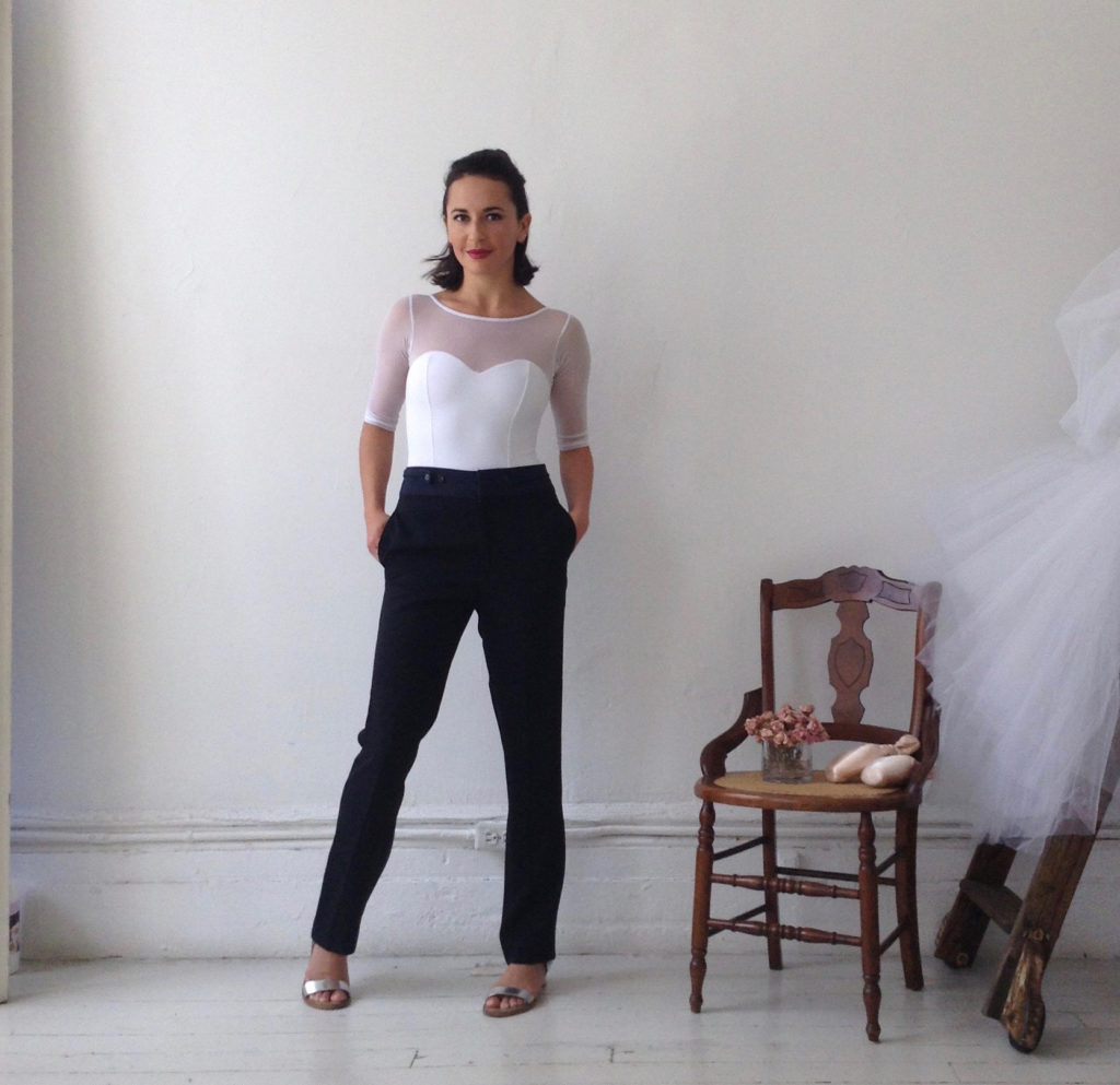 White Sweetheart Leotard with Navy Trousers
