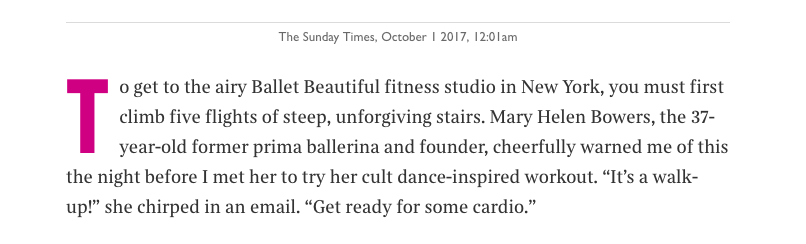 The Sunday Times Oct 2017 about Mary Helen Bowers
