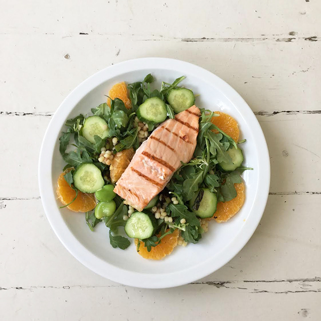 Arugula Salad with Grilled Salmon, Asparagus and Cucumbers
