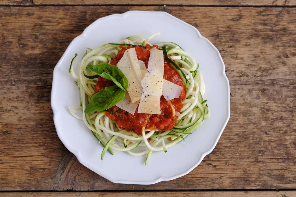 """Zucchini """"Spaghetti"""" with Tomato Sauce"""