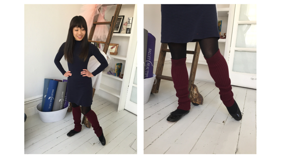 Yuki paired the wine Aurora legwarmers with her navy and black sweater dress