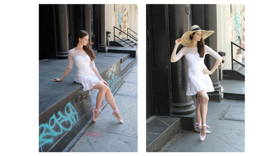 Wear our Sweetheart Half-Sleeve Leotard with a simple white skirt and our Pale Pink Satin Street Shoes