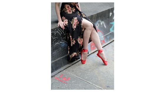 Long elegant skirt with our Crimson Satin Street Shoes for a fun date night look