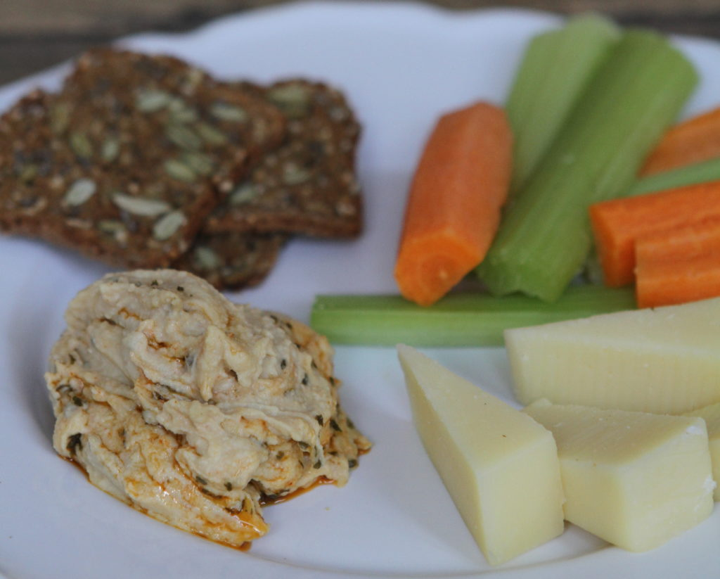 Hummus, Organic Veggies, White Cheddar, and Whole Grain Crackers