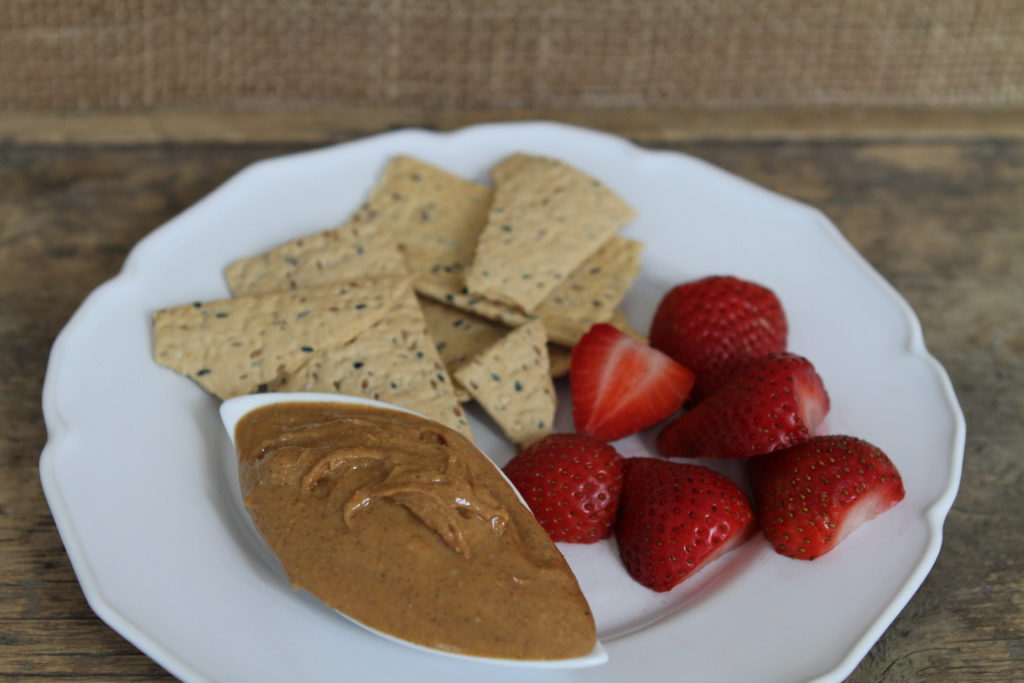 Whole Wheat Crackers, Organic Nut Butter, and Organic Strawberries