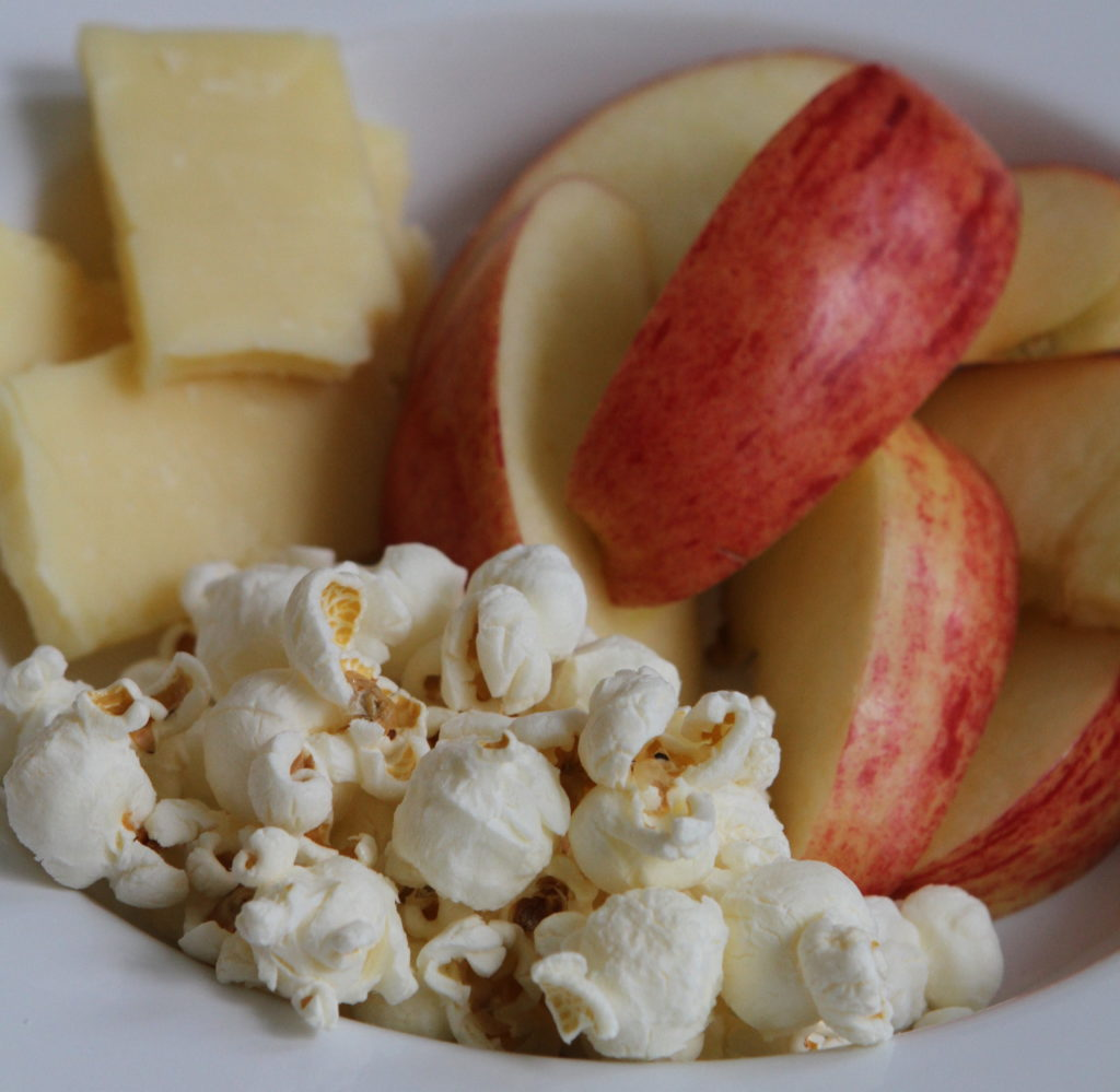 Organic Popcorn, Organic Apple, and White Cheddar Cheese